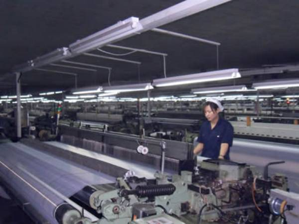 A row of fiberglass mesh machines is running for manufacturing quality fiberglass mesh products.